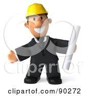3d Male Architect Guy Holding Blueprints - 5