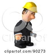3d Male Architect Guy Holding Blueprints - 6