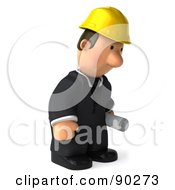 Royalty Free RF Clipart Illustration Of A 3d Male Architect Guy Holding Blueprints 6