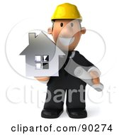 Royalty Free RF Clipart Illustration Of A 3d Male Architect Guy Holding A House 1 by Julos