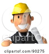 Royalty Free RF Clipart Illustration Of A 3d Male Architect Guy Holding A Sign 1 by Julos
