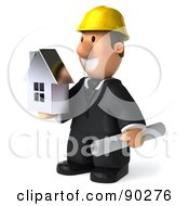 3d Male Architect Guy Holding A House - 2