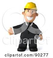 3d Male Architect Guy Holding Blueprints - 3