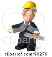Royalty Free RF Clipart Illustration Of A 3d Male Architect Guy Holding Blueprints 4