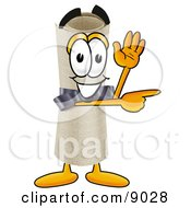 Clipart Picture Of A Diploma Mascot Cartoon Character Waving And Pointing