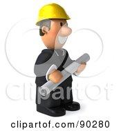 3d Male Architect Guy Holding Blueprints - 2