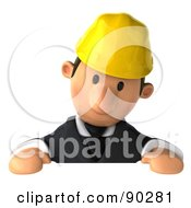 3d Male Architect Guy Holding A Sign - 2