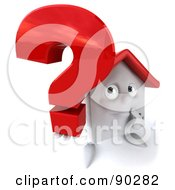 Royalty Free RF Clipart Illustration Of A 3d White Clay Home Character With A Question Mark Version 1