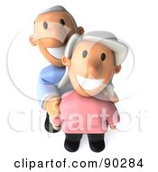 Royalty Free RF Clipart Illustration Of A 3d Senior Couple Standing Together 2