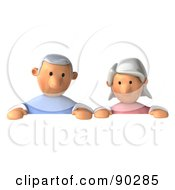 3d Senior Couple Holding Up A Sign - 2