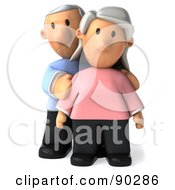 Royalty Free RF Clipart Illustration Of A 3d Senior Couple Standing Together 1