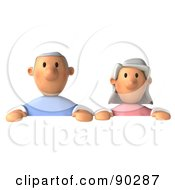 Royalty Free RF Clipart Illustration Of A 3d Senior Couple Holding Up A Sign 1