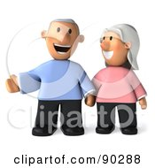 Royalty Free RF Clipart Illustration Of A 3d Senior Couple Standing And Laughing