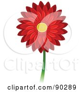 Royalty Free RF Clipart Illustration Of A Beautiful Red Gerbera Daisy Flower