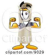 Clipart Picture Of A Diploma Mascot Cartoon Character Flexing His Arm Muscles by Toons4Biz