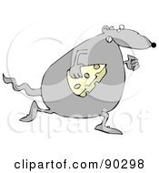Royalty Free RF Clipart Illustration Of A Fat Gray Rat Running With A Slice Of Cheese