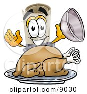 Clipart Picture Of A Diploma Mascot Cartoon Character Serving A Thanksgiving Turkey On A Platter
