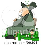 Chubby Drunk Leprechaun Sitting In A Chair With Alcohol Bottles On The Floor