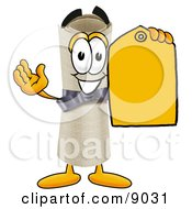 Clipart Picture Of A Diploma Mascot Cartoon Character Holding A Yellow Sales Price Tag