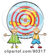 Royalty Free RF Clipart Illustration Of Two Stick Children In Front Of A Help Haiti Children Circle