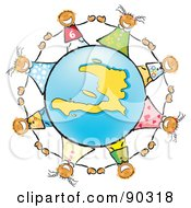 Royalty Free RF Clipart Illustration Of Stick Children Holding Hands Around A Blue And Yellow Haiti Globe