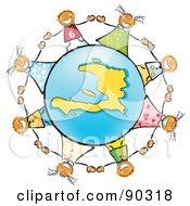 Stick Children Holding Hands Around A Blue And Yellow Haiti Globe