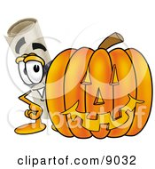 Clipart Picture Of A Diploma Mascot Cartoon Character With A Carved Halloween Pumpkin