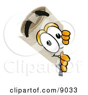Clipart Picture Of A Diploma Mascot Cartoon Character Peeking Around A Corner by Toons4Biz