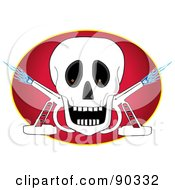 Royalty Free RF Clipart Illustration Of A Skull With Two Torches Over A Red Oval