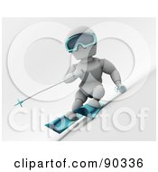 Royalty Free RF Clipart Illustration Of A 3d White Character Skiing Version 2