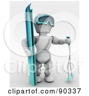 3d White Character Skiing Version 4 by KJ Pargeter