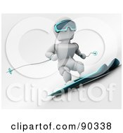 3d White Character Skiing Version 1 by KJ Pargeter