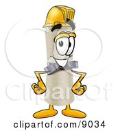 Clipart Picture Of A Diploma Mascot Cartoon Character Wearing A Helmet by Toons4Biz
