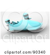 Royalty Free RF Clipart Illustration Of 3d White Characters Bobsledding Version 2