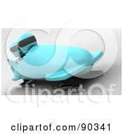 3d White Characters Bobsledding - Version 1