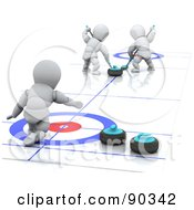 Royalty Free RF Clipart Illustration Of 3d White Characters In A Curling Match by KJ Pargeter