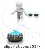 Royalty Free RF Clipart Illustration Of A 3d White Character Curling by KJ Pargeter