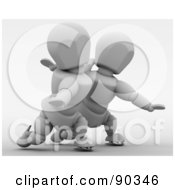 Royalty Free RF Clipart Illustration Of A 3d Figure Skating White Character Pair Version 2