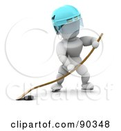 3d White Character Playing Ice Hockey