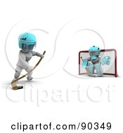 Royalty Free RF Clipart Illustration Of A 3d White Character Ice Hockey Goalie Blocking A Net
