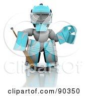3d White Character Ice Hockey Goalie