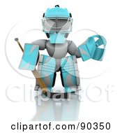 Royalty Free RF Clipart Illustration Of A 3d White Character Ice Hockey Goalie by KJ Pargeter