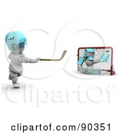3d White Characters Playing Ice Hockey