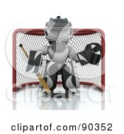 Royalty Free RF Clipart Illustration Of A 3d White Character Ice Hockey Goalie Guarding A Net