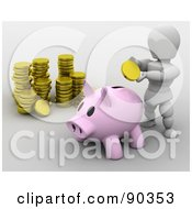 Royalty Free RF Clipart Illustration Of A 3d White Character Inserting A Gold Coin Into A Piggy Bank by KJ Pargeter