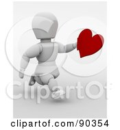 Royalty Free RF Clipart Illustration Of A 3d White Character Running With A Valentines Day Heart
