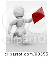 Royalty Free RF Clipart Illustration Of A 3d White Character Running With A Valentines Day Card by KJ Pargeter