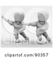 3d White Character Speed Skaters - Version 1