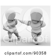 Royalty Free RF Clipart Illustration Of 3d White Character Speed Skaters Version 2