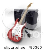 Royalty Free RF Clipart Illustration Of A 3d Electric Guitar With A Microphone And Speaker by KJ Pargeter